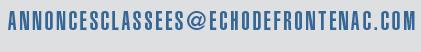 un seul courriel annoncesclassees@echodefrontenac.com