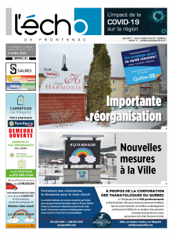 Volume 91 no 14 - 3 avril 2020 : L'Écho de Frontenac : Journal en ligne