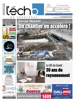 Volume 92 no 14 - 09 avril 2021 : L'Écho de Frontenac : Journal en ligne
