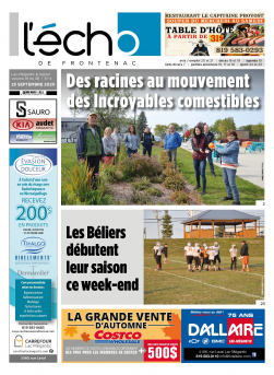 Volume 91 no 38 - 25 septembre 2020 : L'Écho de Frontenac : Journal en ligne